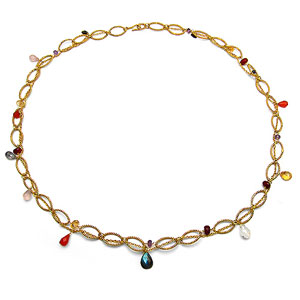 54.90 Grams Multi Gemstone Gold Plated Brass Necklace