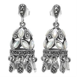 15.70 Grams Pearl & Marcasite .925 Sterling Silver Earrings