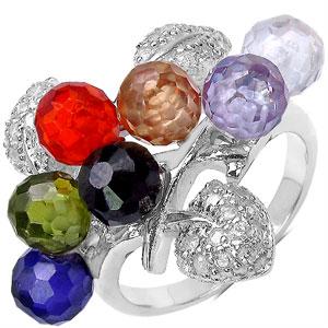 11.60 Grams Multicolor Cubic Zircon .925 Sterling Silver Ring