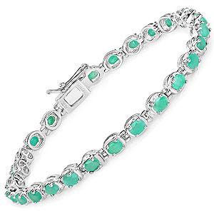 5.40CTW Genuine Emerald .925 Sterling Silver Bracelet