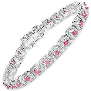 3.36CTW Genuine Ruby .925 Sterling Silver Bracelet