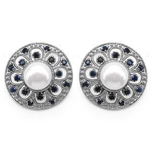 4.42CTW Genuine Pearl & Blue Sapphire .925 Sterling Silver Earrings