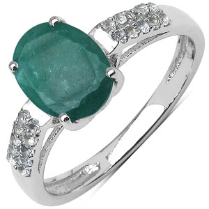 1.86CTW Genuine Emerald & White Topaz .925 Sterling Silver Ring