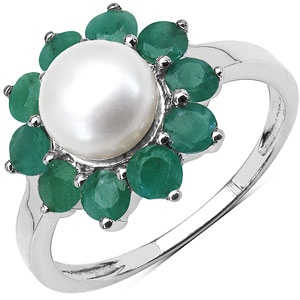 2.94CTW Genuine Emerald & Pearl .925 Sterling Silver Floral Shape Ring