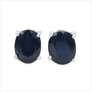 1.60CTW Genuine Blue Sapphire .925 Sterling Silver Earrings