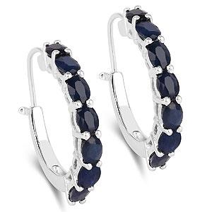 3.50CTW Genuine Blue Sapphire .925 Sterling Silver Earrings