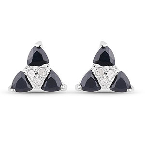 1.12CTW Genuine Sapphire & White Diamond .925 Sterling Silver Earrings