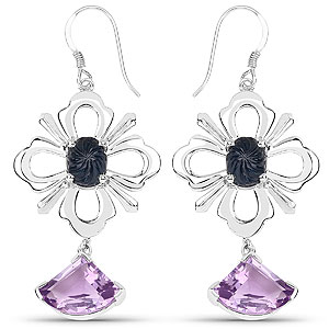 17.10CTW Fancy Shape Genuine Blue Sapphire & Amethyst .925 Sterling Silver Earrings