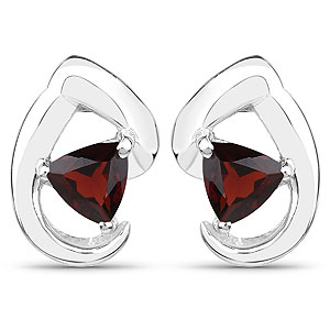 1.00CTW Genuine Garnet .925 Sterling Silver Earrings