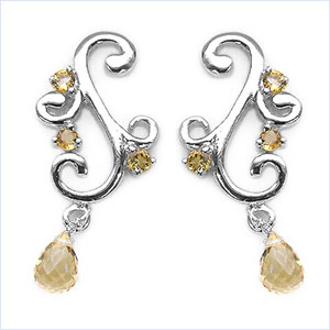 2.40CTW Lustrous Drop Citrine .925 Sterling Silver Earrings