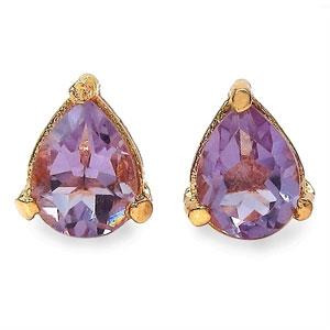 1.80CTW 8x6mm Pear Shape Genuine Amethyst Gold Plated Brass Earrings