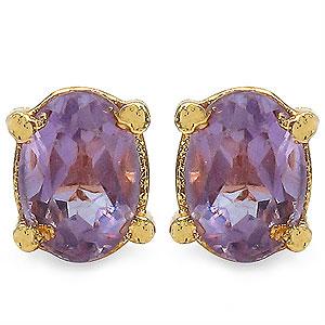 1.70CTW 7x5mm Oval Shape Genuine Amethyst Gold Plated Brass Earrings