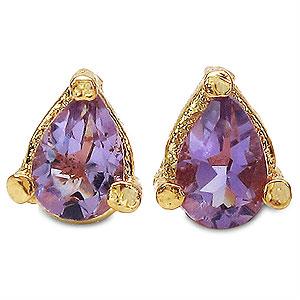 0.80CTW 6x4mm Pear Shape Genuine Amethyst Gold Plated Brass Earrings