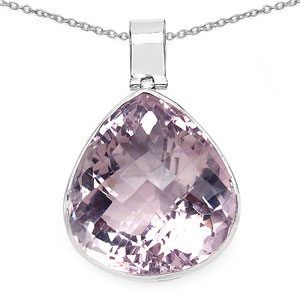 27.99 Grams Genuine Amethyst .925 Sterling Silver Pear Shape Solitaire Pendant