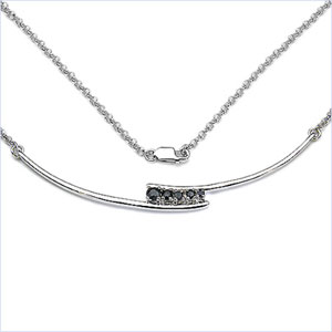 0.51CTW.925 Sterling Silver Black Sapphire Necklace