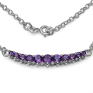 2.55CTW Genuine Amethyst & White Topaz .925 Sterling Silver Necklace