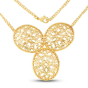 Gold Plated Brass Filigree Necklace