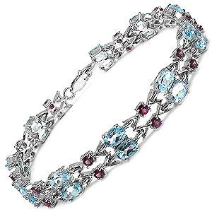 14.76CTW Genuine Blue Topaz & Rhodolite .925 Sterling Silver Bracelet