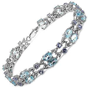 14.36CTW Genuine Blue Topaz & Tanzanite .925 Sterling Silver Bracelet