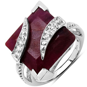 7.30CTW 11.00mm Square Shape Dyed Ruby .925 Sterling Silver Solitaire Ring