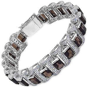 50.10 Grams Genuine Smoky Topaz & White Cubic Zirconia .925 Sterling Silver Bracelet