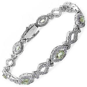 20.10 Grams Genuine Peridot & White Cubic Zirconia .925 Sterling Silver Bracelet