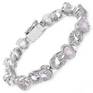 24.30 Grams Genuine Rose Quartz & White Cubic Zirconia .925 Sterling Silver Bracelet