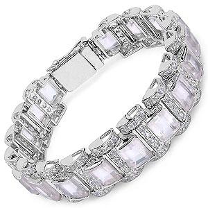51.80 Grams Genuine Rose Quartz & White Cubic Zirconia .925 Sterling Silver Bracelet