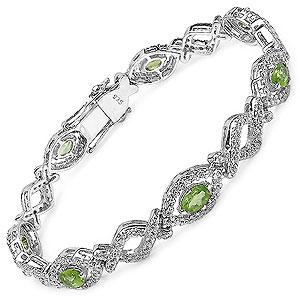 20.20 Grams Genuine Green Amethyst & White Cubic Zirconia .925 Sterling Silver Bracelet