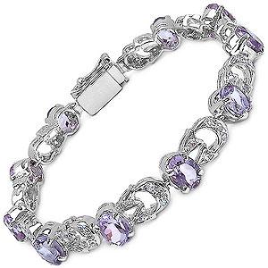 24.70 Grams Genuine Amethyst & White Cubic Zirconia .925 Sterling Silver Bracelet