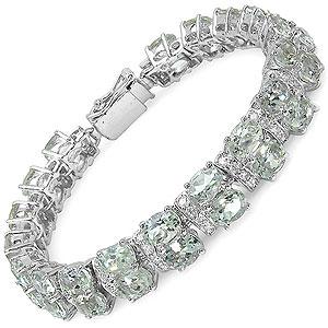 38.20 Grams Genuine Green Amethyst & White Cubic Zirconia .925 Sterling Silver Bracelet