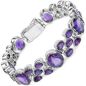 43.25CTW Genuine Amethyst .925 Sterling Silver Bracelet
