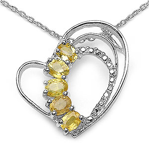 1.25CTW Genuine Yellow Sapphire .925 Sterling Silver Heart Shape Pendant