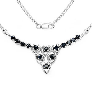 0.56CTW Genuine Black Sapphire .925 Sterling Silver Pendant