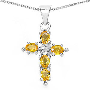 1.25CTW Genuine Yellow Sapphire .925 Sterling Silver Cross Shape Pendant