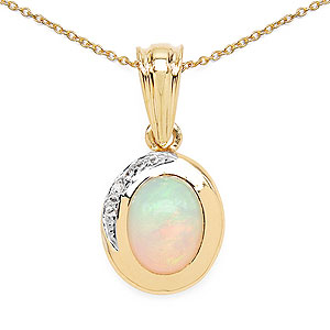 1.29CTW Genuine Opal & White Topaz 14K Yellow Gold Plated .925 Sterling Silver Solitaire Pendant