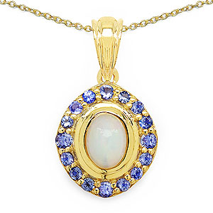 1.53CTW Genuine Opal & Tanzanite 14K Yellow Gold Plated .925 Sterling Silver Pendant