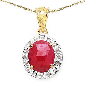 4.80CTW Genuine Pink Sapphire & White Topaz 14K Yellow Gold Plated .925 Sterling Silver Pendant