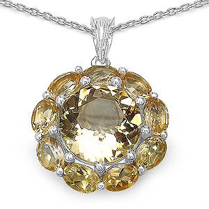 10.61CTW Genuine Citrine .925 Sterling Silver Pendant