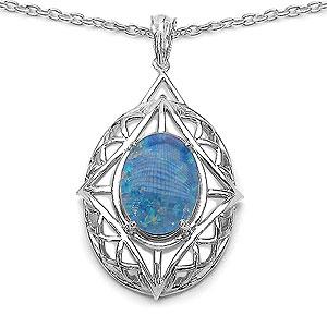 4.85CTW Fancy Shape Genuine Opal .925 Sterling Silver Pendant