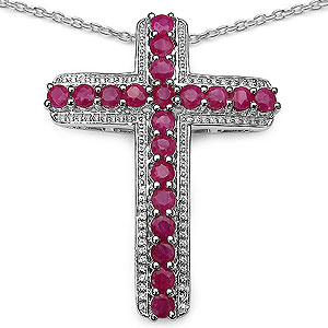 2.40CTW Genuine Ruby .925 Sterling Silver Cross Shape Pendant