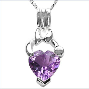 1.50CTW Genuine Amethyst .925 Sterling Silver Pendant