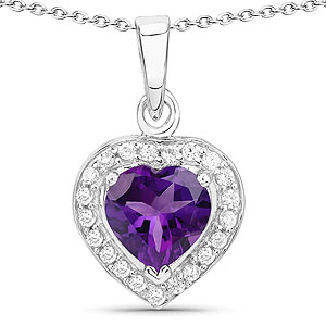 1.86CTW Amethyst & White Cubic Zirconia .925 Sterling Silver Heart Shape Pendant