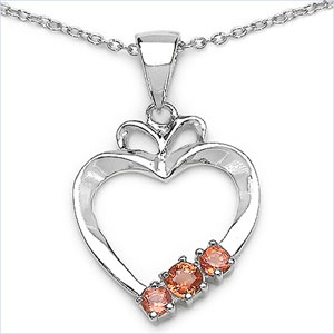 0.28CTW Genuine Orange Sapphire .925 Sterling Silver Pendant
