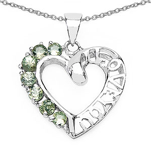 0.98CTW Genuine Green Sapphire .925 Sterling Silver Heart Shape Pendant