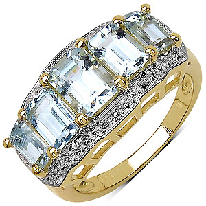 2.34CTW Genuine Aquamarine 14K Yellow Gold Plated .925 Sterling Silver Ring