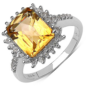 4.02CTW Genuine Citrine & White Topaz .925 Sterling Silver Ring