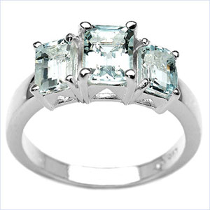 1.80CTW Genuine Aquamarine 3-Octagon .925 Sterling Silver Ring