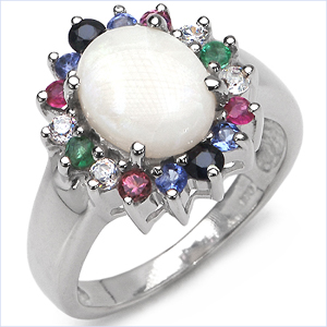 2.35CTW Genuine Multi Stone .925 Sterling Silver Ring