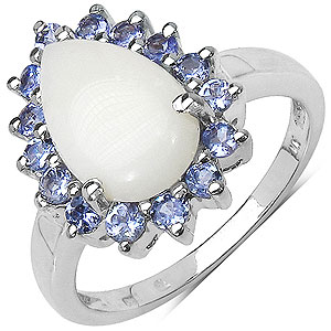 2.30CTW Genuine Opal & Tanzanite .925 Sterling Silver Ring